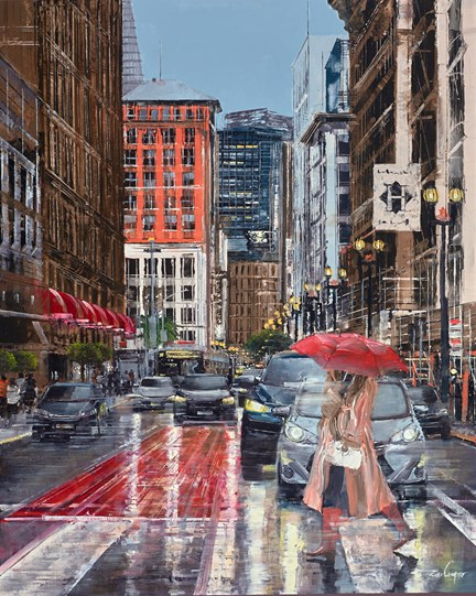 Under My Red Umbrella by Ziv Cooper - Original Painting on Box Canvas